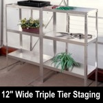 Elite 3ft10in x 12in wide Triple Tier Aluminium Staging - Green Finish