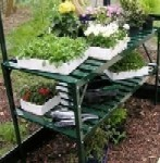 Halls Double Tier Slatted Staging in Green